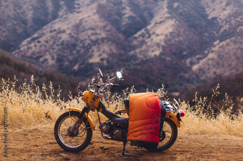 Motorbike with blanket over seat, Sequoia National Park, California, USA Poster