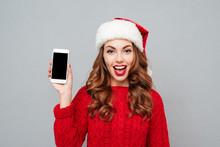 Smiling Woman In Santa Claus H...