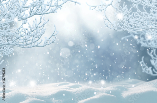 Staande foto Bleke violet Winter Christmas background.Merry Christmas and happy New Year