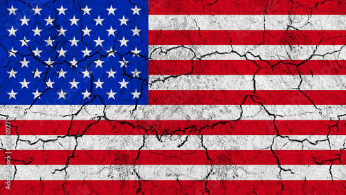 Photo  Flag of United States of America on rugged wall full of scratches - metaphor of