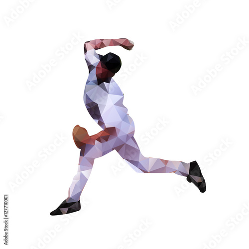 Fotografie, Obraz  Baseball player, abstract polygonal vector silhouette