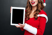 Smiling Woman In Red Xmas Outf...
