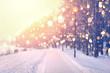 Leinwanddruck Bild - Color snowflakes on winter park background. Snowfall in park.