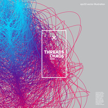 Threads Chaos Background. Abstract Wavy Lines. Scientific Background. Applicable For Covers, Club Poster, Placard, Title Page. Eps10 Vector.