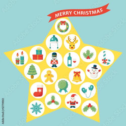 星型のクリスマスアイコンセット #127714863