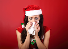Flu. Unhappy Frustration Sick Woman Holding Paper Tissue Near He