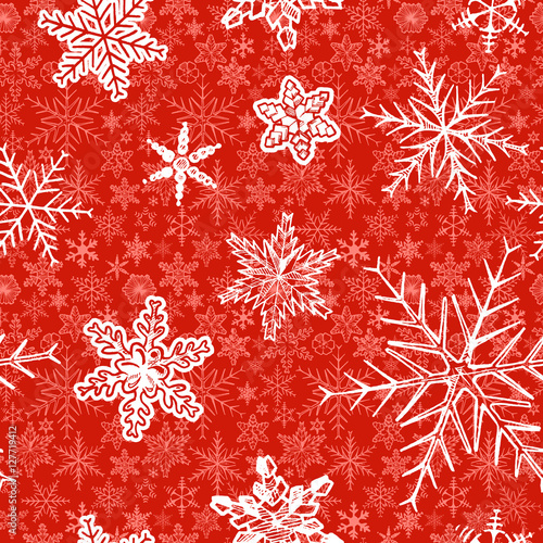 Cotton fabric Christmas pattern with decorative snowflakes on red background. Vector illustration in ink hand drawn style.