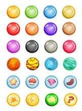 Set Of Bubbles And Magic Balls For Game Ui