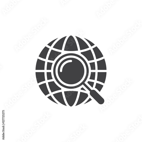Fototapeta Global search symbol. magnifying glass and globe icon vector, filled flat sign, solid pictogram isolated on white, logo illustration obraz na płótnie