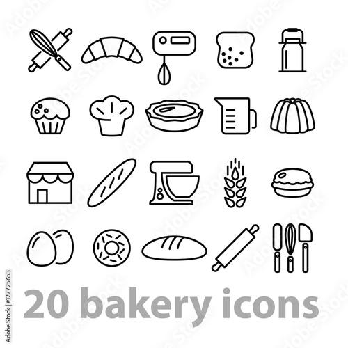 twenty bakery icons collection