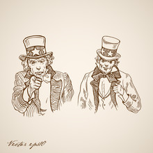 Engraving Hand Vector Uncle Sam