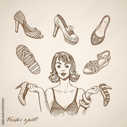1f73286c2a3813 Engraving hand vector woman sandals thongs shoes tankette heel - Buy ...