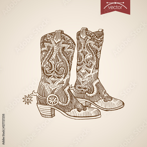 Valokuvatapetti Engraving hand vector cowboy boots retro fashion illustration.