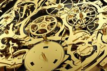 Gold Mechanism, Clockwork With Working Gears.