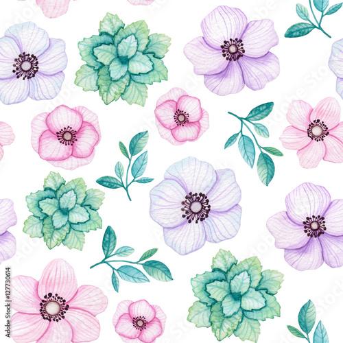 Akwarela mięty, liści i kwiatów wzór