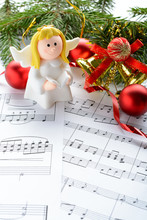 Christmas Decorations, Figures Of Angels And Notes