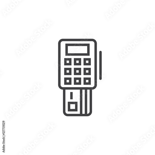 pos terminal line icon, outline vector sign, linear pictogram isolated on white. logo illustration
