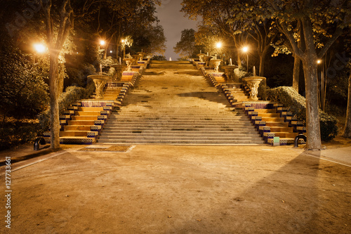 Photo  Stairs to Montjuic Hill at Night in Barcelona