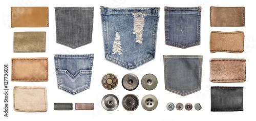 Fotografía  various jeans parts on white