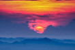 canvas print picture - Sunset sky and clouds