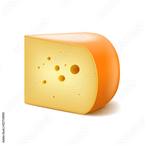 Fotografie, Obraz  Gouda cheese isolated on white vector