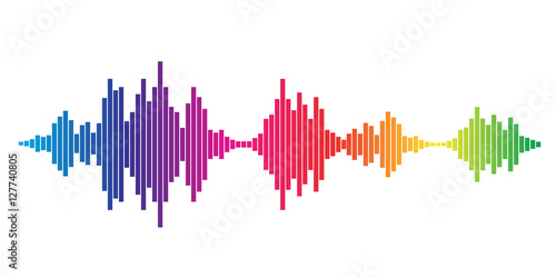 Fotografie, Obraz  Colorful Sound waves