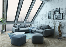 Rooftop Apartment Interior As 3D Render