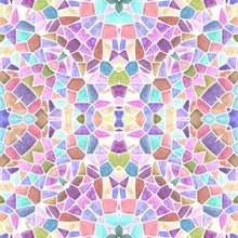 Mosaic Kaleidoscope Seamless Pattern Texture Background - Sweet Pastel Multi Colored With White Grout