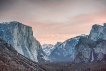 First Light Over El Capitan And Half Dome From Tunnel View, Yosemite National Park