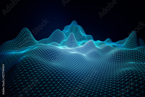 Tuinposter Fractal waves Blue grid waves