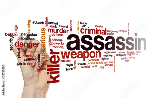 Assassin word cloud concept Poster