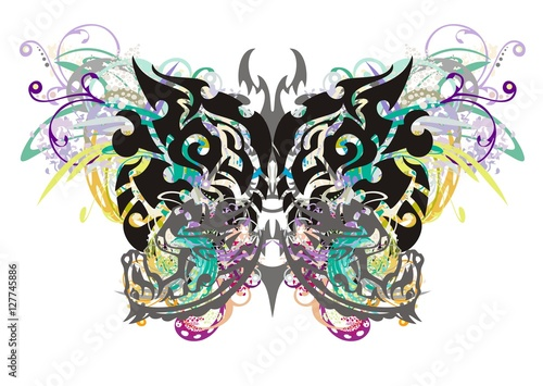 Foto op Aluminium Vlinders in Grunge Grunge tribal butterfly. The butterfly with floral splashes formed by the heads of an eagle and the heads of a horse