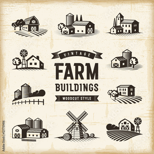 Foto  Vintage Farm Buildings Set
