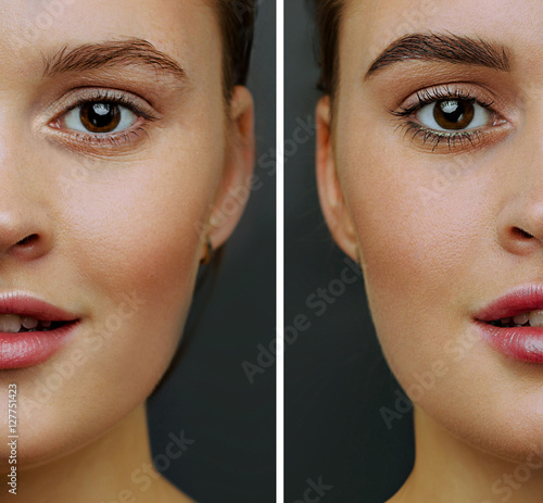 Photo Female face, with perfect skin, cut in half to present before and after  coloring, styling eyebrows