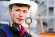 canvas print picture - Bauarbeiter bei der Arbeit auf der Baustelle