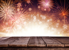 Abstract Firework Background With Wooden Planks