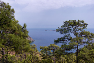 Fototapeta na wymiar Secluded bay in the Turkish Mediterranean Sea, Turkey, Viewed fr