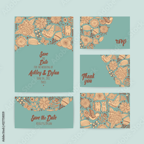 Wedding Invitation template save the date Wall mural