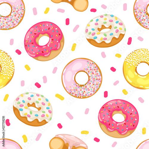 fototapeta na ścianę Donuts vector seamless pattern