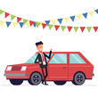 Seller is leaning on the car. Businessman next to the machine. Garland of flags. Vector, illustration EPS10.