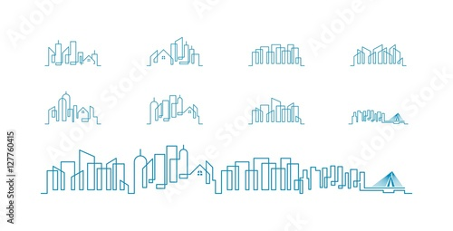 City Skyline lineart logo set - 127760415