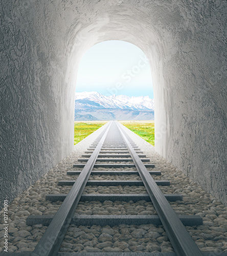 Door stickers Tunnel Railway tunnel with landscape view