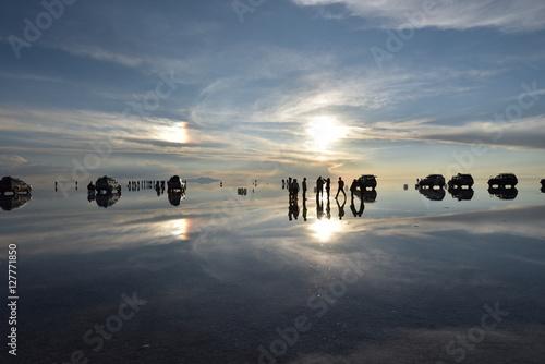 Fotobehang Inspirerende boodschap Sunset at Salar de Uyuni, SW Bolivia
