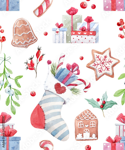 Cotton fabric Nice christmas vector pattern