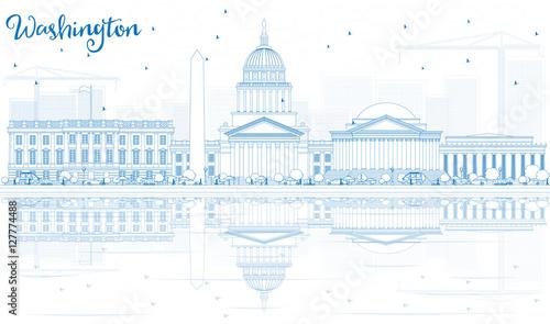Fotografia  Outline Washington DC Skyline with Blue Buildings and Reflection