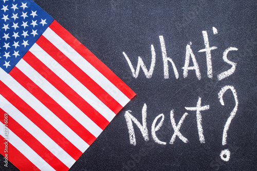 What's next on the chalk board and US flag Wallpaper Mural