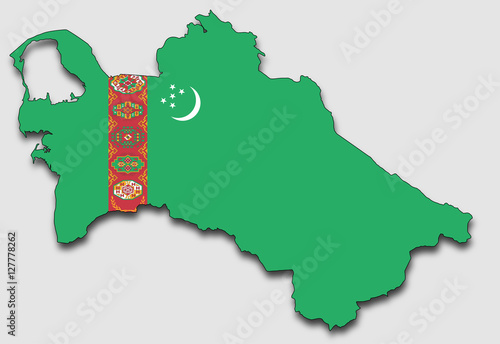 Photo Map of Turkmenistan, Filled with the National Flag