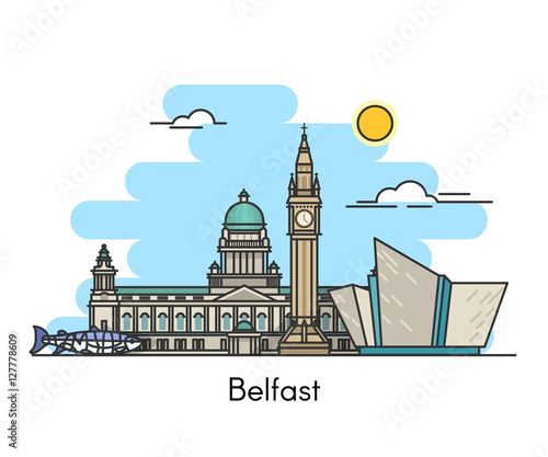 Obraz na plátně Belfast skyline . Ireland, United Kingdom