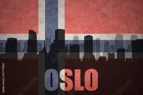 abstract silhouette of the city with text Oslo at the vintage norwegian flag Poster
