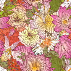 Seamless floral pattern - assorted flowers